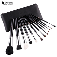 DUcare Makeup Brushes 12Pcs Natural Hair Cosmetics Set with Leather Bags Wooden handle high quality make up brush set(China)