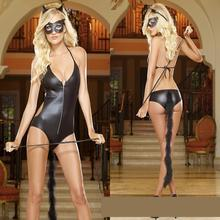 Cosplay Halloween for Adult Catwomen Costumes Set Sexy Fetish Feline Womens Party Costume Bodysuit With Headwear Black cat suit
