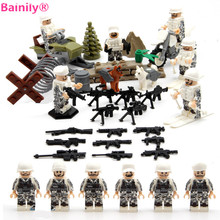 [Bainily]6ps/lot WW2 Snow Field Soldiers Figures with sled Guns Team Snowmobile Building Blocks Compatible With LegoINGly Weapon