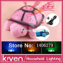 Children Toys Turtle LED Night Light + USB Cable Music Light Mini Projector lamp 4 Colors 4 Song Star Lamp birthday Gift150904