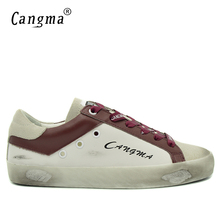 CANGMA Autumn Mens Fashion White Wine Trainers Leisure Shoes Man Genuine Leather Platform Sneakers Flats Shoes Male Footwear