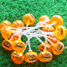 2M 20 LED Battery Powered Pumpkin LED String Halloween Lights Garlands for Holiday Prom Party Home Supplies Decorative