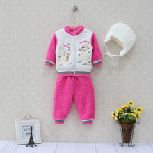 2017 New arrival coral fleece winter baby clothes set casual girls child set sports outfits hoodie zipper warm kid boys clothing(China)