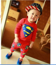 Free shipping spring autumn period style children superman cotton suit boys girls sports leisure set baby jogging clothes(China)