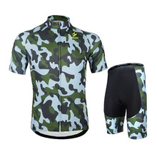 Arsuxeo Men Summer Cycling Short Sleeve Jersey Padded Shorts Set MTB Bike Bicycle Shirt Army Style Clothing Sportswear