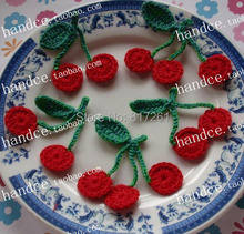 2015 new fashion knitted cherry patches as cloth decoration 12 pic/lot 3D applique patch flower natural cotton crochet felt(China)