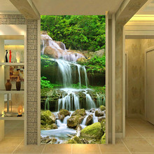 Custom 3D Wall Murals Wallpapers Waterfalls Forest Nature Landscape Photo Wall Cloth Living Room Wall Home Decor Papel De Parede(China)