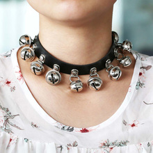 New PU leather Bells choker heart accessories 2017 Cool vintage necklace women Handmade Choker Necklace Goth Jewelry Gift(China)