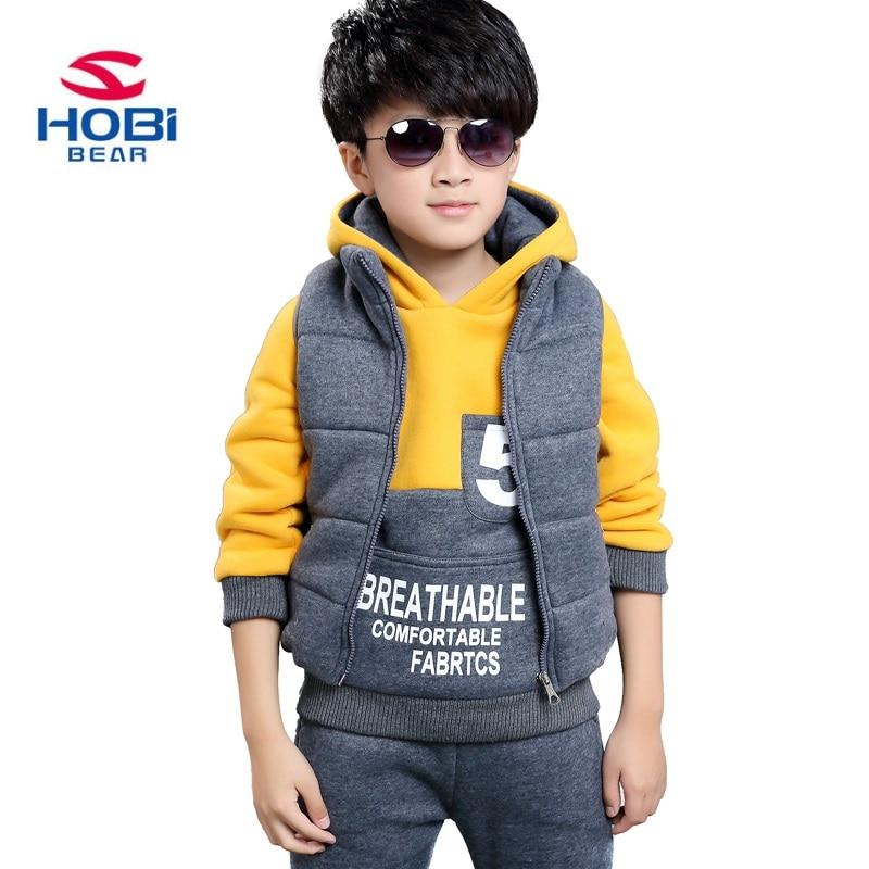 HOBIBEAR boys cotton clothing set kids warm active casual fashion 3pcs set hooded cool clothing TW1105<br>