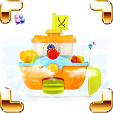 Baby Shower Pirate Ship Bath Toys Waterwheel Fun For Kids Swimming Children Bathroom Toy ABS Classic Toy Favour Cute Gift