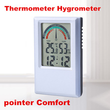High Quality Digital LCD pointer Comfort Thermometer Hygrometer Temperature Humidity tester meter Clock Alarm C/F 50% off
