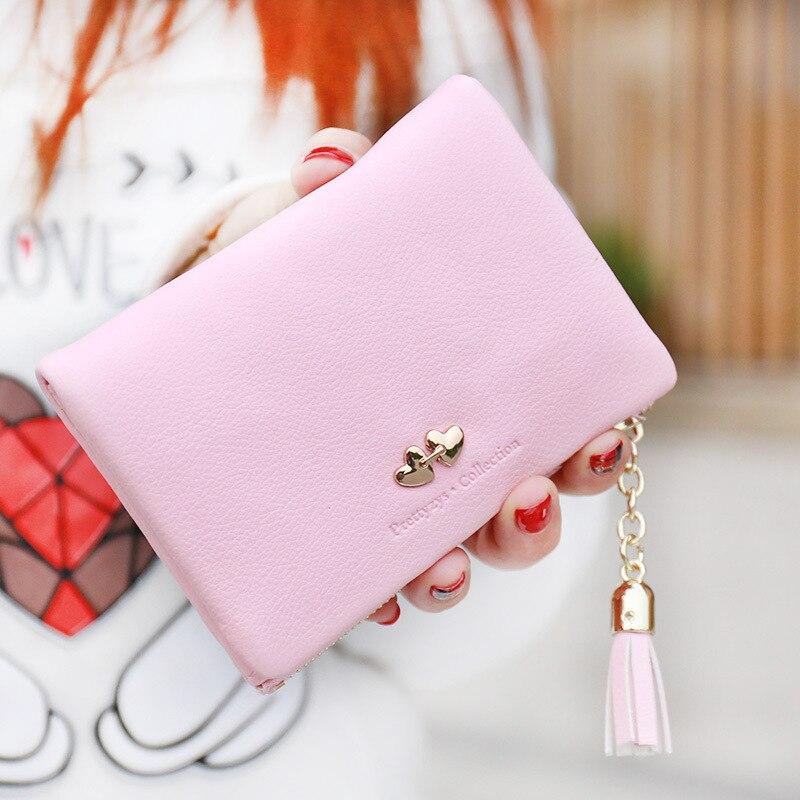 Leather Wallet NewFashion Small Ladies Wallet Tassels Short Purse Women Zipper Hasp LOVE Rivet Clutch Cion Pocket Card Holder<br><br>Aliexpress