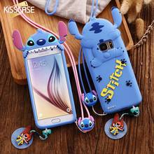 KISSCASE Cartoon Stitch Case For Samsung Galaxy S7 S6 Edge Huawei Soft Silicon Cover For iPhone 6 6S 7 Plus With Neck Strap Capa