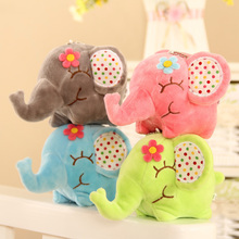 12cm Soft Cute Plush Floral Elephant Kids Toys Sucker Car Room Window Pendant Bouquet Plush Stuffed Toy Doll(China)