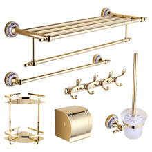 European Gold Ceramic Bathroom Accessories Sets Chrome Bathroom Hardwares set Wall Mounted Brass Bathroom Accessories qy1