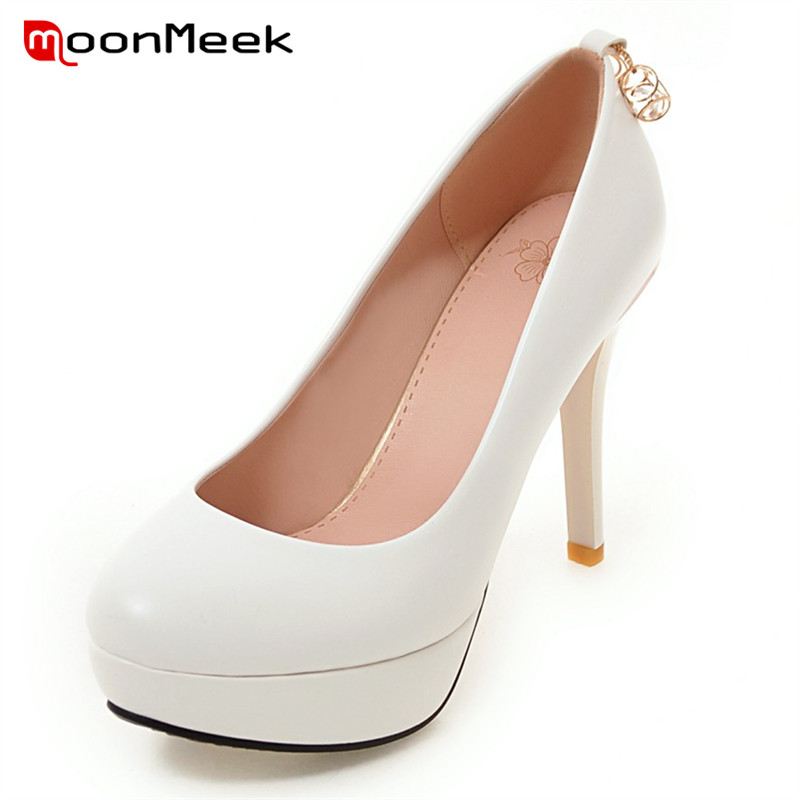MoonMeek 2017 Elegant wedding shoes woman pumps shallow solid pu platform shoes high heels metal decoration spring autumn<br>