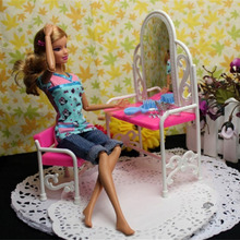 Hot! OCDAY 2Pcs/set Plastic Pink Dressing Table and Chair Girl Dolls Accessories Set Beautiful Bedroom Furniture New Sale(China)