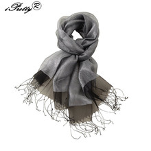 iPretty Double layer 100% Natural Silk Long Scarf Shawl For Women luxury Tassel Solid Lides Fashion Cachecol de seda 200x70cm(China)