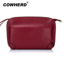 Cowherd Wholesale Ladies Party Make up Bag Women Day Clutches Bag Soft Top Layer Real Cow Leather Clutches Purses for shopping(China)