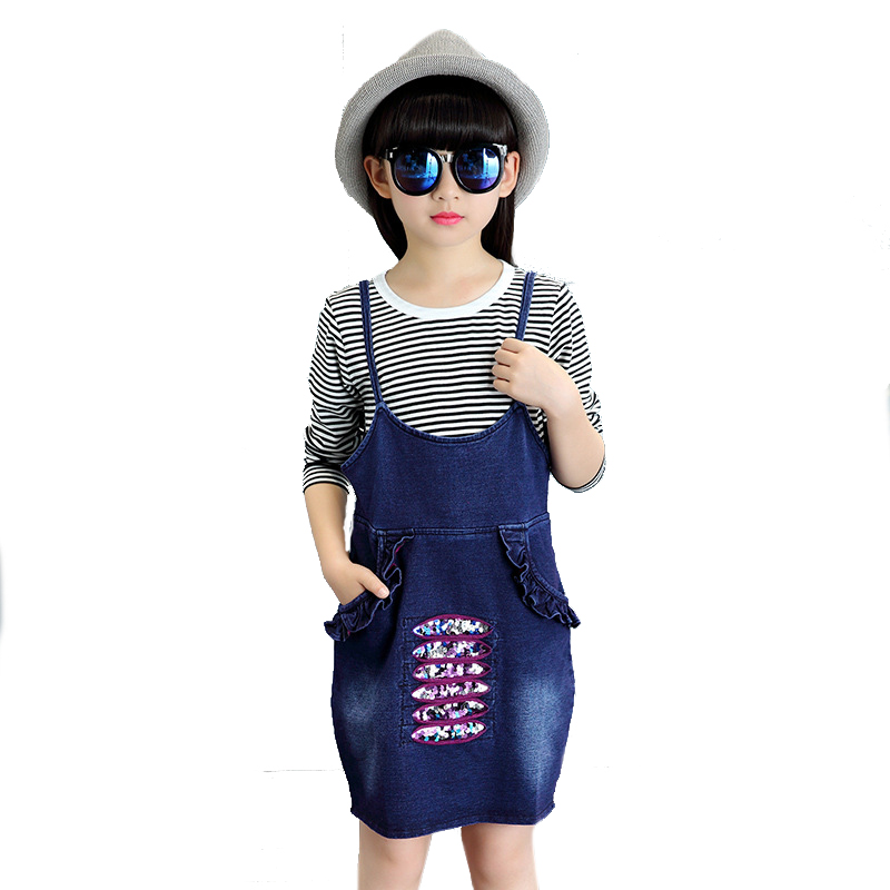 Girls Clothing Sets Cotton Striped T-Shirts &amp; Denim Overalls 2Pcs Spring Kids Outfits 2017 Long Sleeve Children Tees Girls Dress<br><br>Aliexpress
