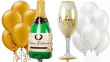 "39""Champagne Bottle Wine Glass Mylar Balloons Gold White 12"" Latex Pearl Party Decoration Kit Wedding Celebration Anniversary(China)"