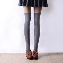 2016 New 3 Colors Fashion Women's Socks Sexy Warm Thigh High Over The Knee Socks Long Cotton Stockings For Girls Ladies Women(China)