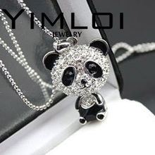 Imitation Crystal Cute Female Gold Silver Color Pink Black Panda Jewelry Sweater Chain Necklace N001 Nice Shopping(China)