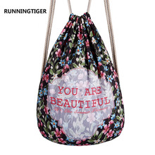 "Hot ""You are beautiful"" Letters Shivering Women Polyester Pocket Backpack Flowers Draw Printing String Bag Ladies Rope Backpacks"
