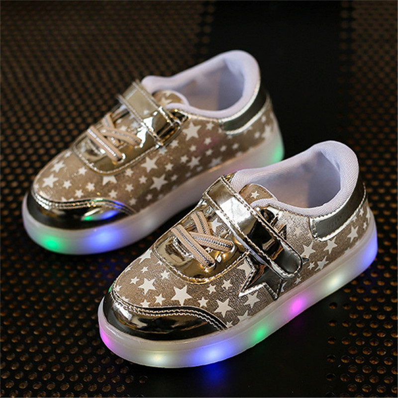 Children Shoes With Light Up 17 Star Printed Unisex Led Light Kids Baby Girls Boys luminate Sneakers Size 21-30 4