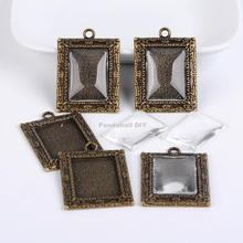 Tibetan Style Pendant Cabochon Bezel Settings and Clear Glass Cabochons, Rectangle, Lead Free & Nickel Free, Antique Bronze,