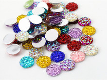 New Fashion 40pcs 12mm Mix Colors Flat back Resin Cabochons Cameo Jewelry Accessories Supplies Wholesale Supplies(China)