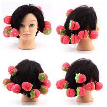 12 pcs/set Magic Hair Curlers Cute Strawberry Curler Soft Sponge Foam Balls Curling Rollers Hair Care Lovely DIY Hair Tools(China)