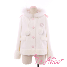 Snow Rabbit Cute Girls Women's Winter White Wool Blend Coat Long Sleeve Faux Fur Trim Bunny Tail Lolita Outwear Jacket