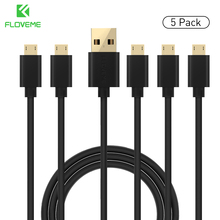 FLOVEME 5pcs / lot Micro USB Cable , Samsung Xiaomi Android Device 2A Charging PVC Gold-plated Head USB Data Cable Sync Cabo