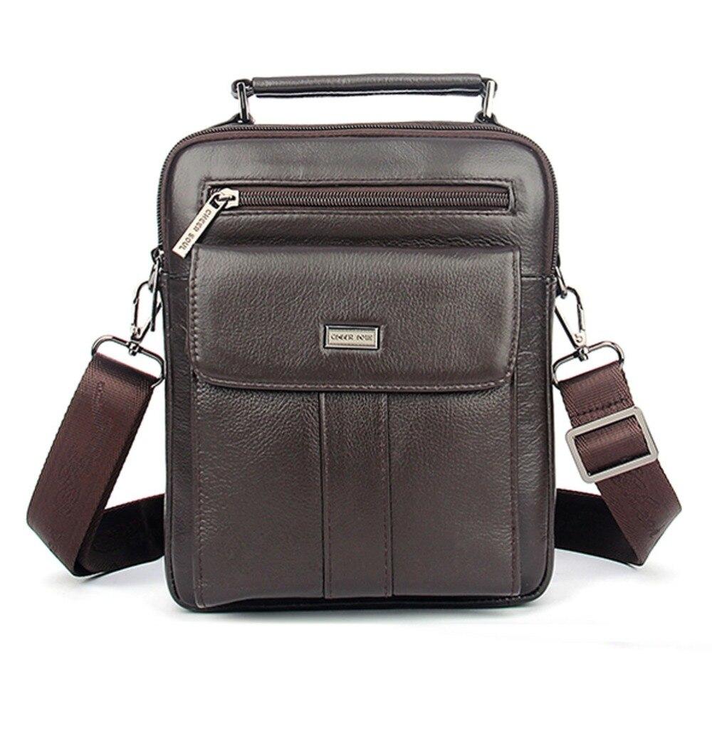 Mens High Quality Leisure First layer Cowhide fashion Handbag Vintage Genuine Leather Shoulder Messenger Bags Business Bag<br>