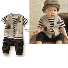 New Summer Baby Boy Romper Short Sleeve Striped  Fake 2 Pcs Casual Suit Outfits For Babies  Infant Clothing Newborn Clothes