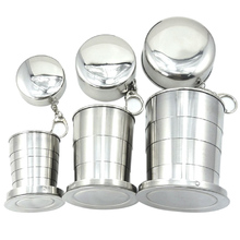 Outdoor Travel Stainless Steel Portable Folding Telescopic Collapsible Cup Mug with Keychain