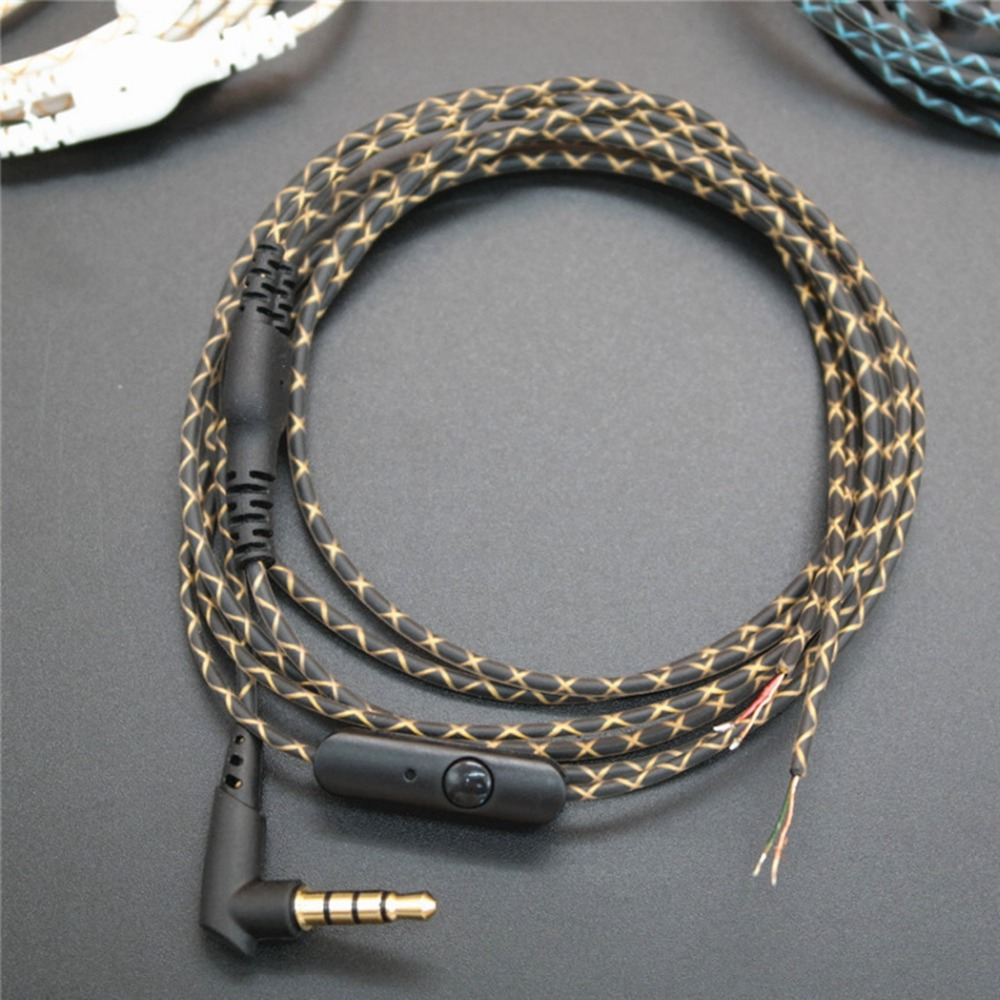DIY Earphone Audio Cable Snakeskin wire Semi-finished serpentine cables with Mic for mobile phone (6)