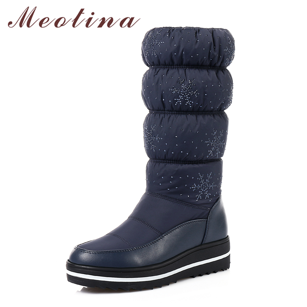 Meotina Winter Shoes Snow Boots Plush Platform Wedge Heel Boots Glitter Pleated Waterproof Mid Calf Boots 2018 Black Size 35-44<br>