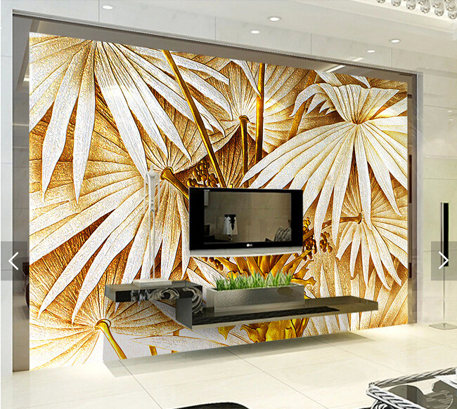Custom wallpaper,Banana leaf color carving,3D landscape for living room bedroom restaurant background wall waterproof wallpaper<br>