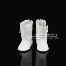 "White Leather Boot For 18 "" American Girl Doll, 45cm Doll Shoes(China)"