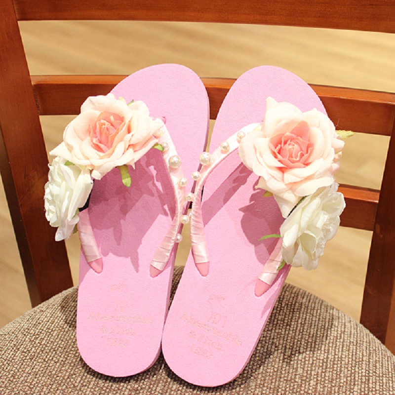 Cherry Pink Flowers Pearl Deer Beach Sandals Flip Flops<br><br>Aliexpress