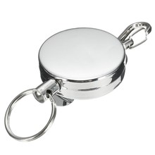 Unisex Men Women Elastic Key Chain Stainless Steel Sporty Retractable Recoil Key Chain Anti Theft Metal Ring Belt Clip(China)