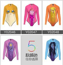 Ladies swimwear Long sleeve one-piece bathing suit Large size use for diving surfing Sunscreen Conservative Swimsuit Sunscreen(China)