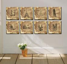 8 PCS Set Modern Art Foreign Architecture Fashion Wall Painting Canvas Print Paris Eiffel Tower London Living Room Wall Pictures(China)