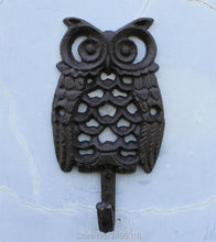 Cast Iron single Coat Hooks Clothes Rack Wall Hanger - Owls