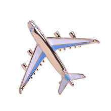 Blucome Unique Aircraft Airplane Brooches For Kids Man Gold Color Metal Enamel Esmalte Broches Suit Coat Spilla maschio Joyas(China)