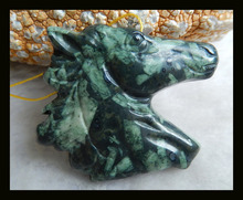 Hot Sale Natural Stone HandCarved Horse head Ocean Kambaba Necklace Pendant 39x42x8mm 21.9g Fashion Jewelry Carved Pendant