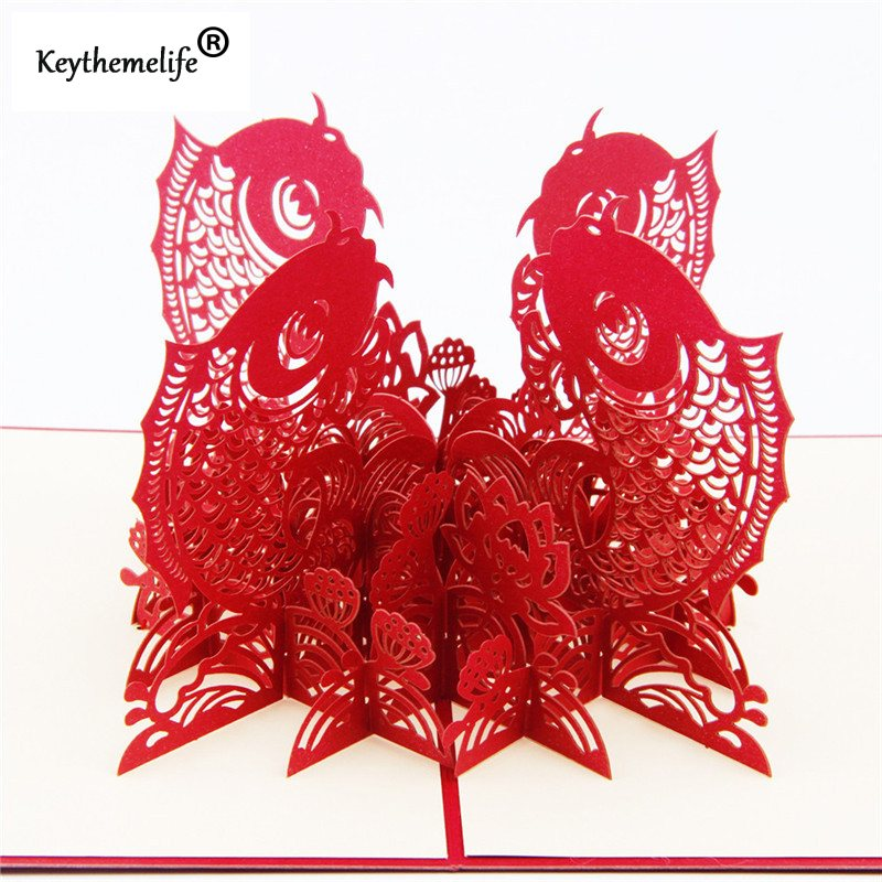 China-Red-3D-Fish-Cards-Invitations-Pop-Up-Postcards-Origami-Paper-Best-Wish-Greeting-Holiday-Gift