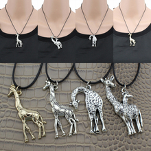 "[$5 minimum] 2016 Fashion Women's Jewelry Vintage Silver/Gold Giraffe Pendant 17"" Short Necklace Free Shipping Giraffe01"